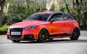Картинка Audi, Red, monster, Satin, wrap, wraps, Smouldering