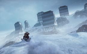 Картинка gun, game, blizzard, weapon, Battlefield, snow, man, rifle, Battlefield 4, snowmobile, montain, Battlefield IV