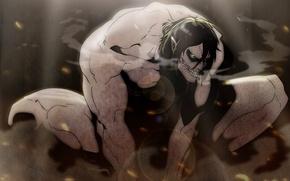 Картинка страх, искры, оскал, чудовище, челюсть, горящие глаза, Eren Yeager, испарения, Вторжение Гигантов, мускулатура, Shingeki no …
