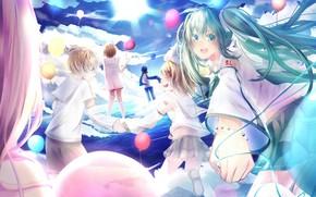 Картинка небо, шарики, дети, аниме, арт, Vocaloid, Вокалоид, персонажи, воздушные шарики