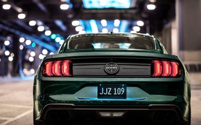Картинка Mustang, Ford, вид сзади, 2018, Bullitt