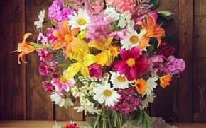 Картинка лилии, ромашки, букет, альстромерия