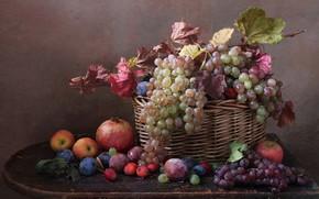 Картинка корзина, яблоко, виноград, натюрморт, слива