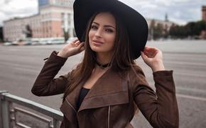 Картинка дорога, поза, модель, портрет, шляпа, макияж, куртка, прическа, шатенка, красотка, боке, Veronica, Dmitry Sn
