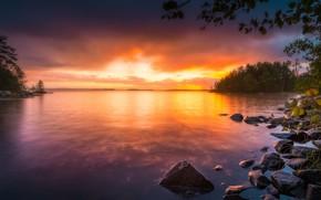 Картинка деревья, закат, озеро, камни, Финляндия, Finland, Тампере, Tampere, Lake Näsijärvi, Озеро Нясиярви