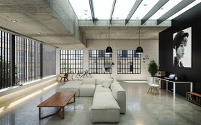 Картинка дизайн, портрет, помещение, Loft, Livingroom