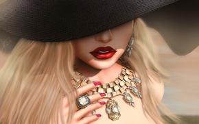 Обои лицо, помада, губы, девушка, украшение, шляпа