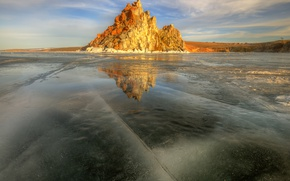Картинка небо, солнце, озеро, лёд, весна, Байкал, Март