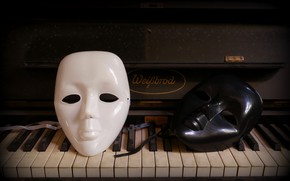Картинка фон, пианино, маски