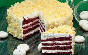 Картинка торт, слои, крем, меренга