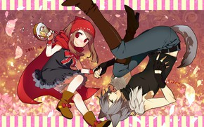 Картинка романтика, волк, красная шапочка, аниме, арт, двоое