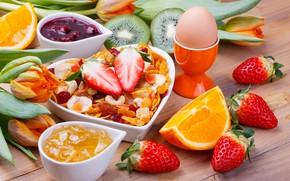 Обои breakfast, яйцо, muesli, завтрак, фрукты, berries, ягоды, мюсли, egg, fruit