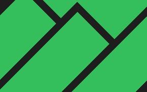 Картинка Минимализм, Полосы, Зеленый, Линии, Manjaro Linux, Material Design, Плоский