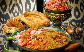 Обои лук, мясо, рис, хлеб, салат, плов, помидоры, перец