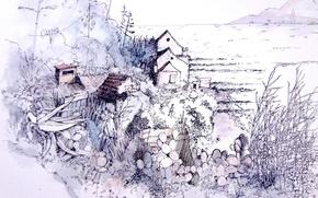 Картинка природа, дом, рисунок