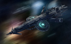 Картинка транспорт, корабль, полёт, аппарат, space frigate