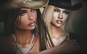 Картинка фон, девушки, лица, шляпы