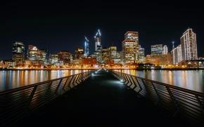Картинка ночь, мост, огни, берег, дома, Калифорния, залив, Сан-Франциско, США