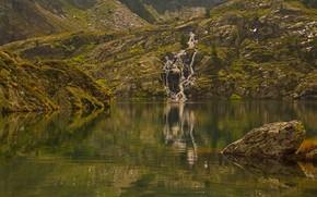 Картинка горы, озеро, отражение, водопад, Италия, Валле-д'Аоста