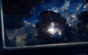Картинка авто, небо, солнце, деревья, самолет, вид из окна, Y_Y