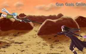 Картинка аниме, арт, Sword Art Online, Кирито, Синон