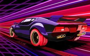 Картинка Авто, Рисунок, Неон, Машина, Скорость, Electronic, Synthpop, Darkwave, Synth, Retrowave, Синти-поп, Синти, Synthwave, Synth pop
