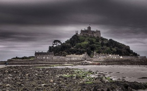 Картинка замок, Англия, Корнуолл, гора Святого Михаила, залив Маунтс