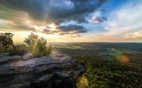 Обои природа, скала, утро, панорама