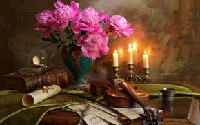 Картинка ноты, скрипка, часы, букет, свечи, ожерелье, книга, смычок, пионы