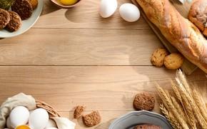 Картинка яйца, печенье, колоски, хлеб