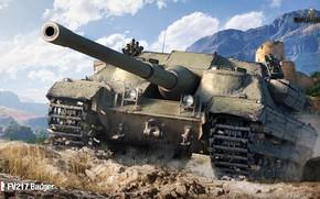 Обои камни, горы, WOT, World of Tanks, танк, Пт-сау, FV217 Badger, солнце, долина, британский