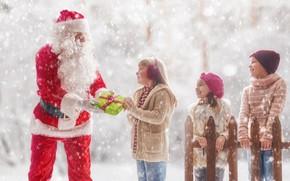 Картинка зима, снег, дети, праздник, новый год, Санта Клаус