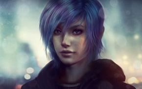 Картинка взгляд, девушка, лицо, дождь, волосы, арт, zoe