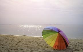 Картинка песок, море, пляж, лето, счастье, отдых, зонт, colorful, rainbow, summer, happy, beach, sea, umbrella, sand, …