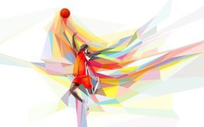 Картинка прыжок, игра, мяч, баскетбол, баскетболист, бросок, low poly