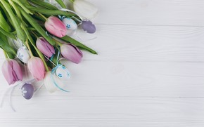 Картинка цветы, яйца, Пасха, тюльпаны, wood, pink, flowers, tulips, spring, Easter, eggs, violet, decoration, Happy, tender