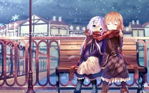 Картинка зима, девочки, арт, gochuumon wa usagi desu ka?