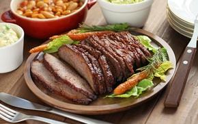 Картинка мясо, морковь, салат, буженина