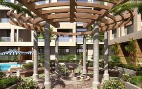 Картинка растительность, сооружение, фонтан, MODERN APARTMENT, POOL WITH OPEN GARDEN