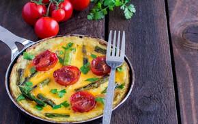 Картинка зелень, вилка, яичница, овощи, помидоры, омлет