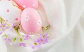 Картинка цветы, Пасха, pink, flowers, spring, Easter, eggs, decoration, Happy, яйца крашеные