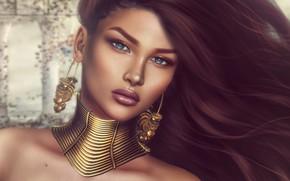 Картинка девушка, лицо, волосы, серьги, украшение