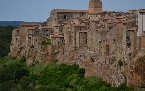 Картинка Дома, Панорама, Италия, Здания, Italy, Тоскана, Italia, Panorama, Toscana, Tuscany, Питильяно, Pitigliano
