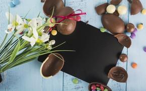 Картинка Цветы, Шоколад, Конфеты, Яйца, Сладости