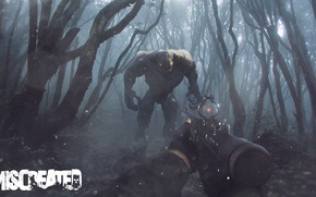 Картинка лес, деревья, туман, оружие, монстр, зомби, miscreated