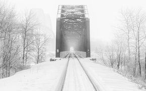 Картинка зима, дорога, мост, туман
