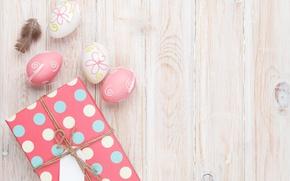 Картинка Пасха, wood, spring, Easter, eggs, decoration, Happy, яйца крашеные