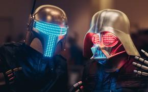 Обои Музыка, Star Wars, Darth Vader, Маска, Art, Digital, Boba Fett, Маски, Neon lights, Darth Punk