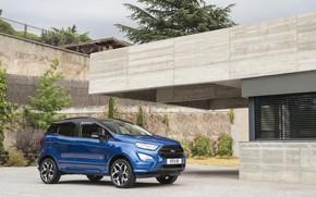 Картинка авто, стена, Ford, blue, EcoSport, ST-Line