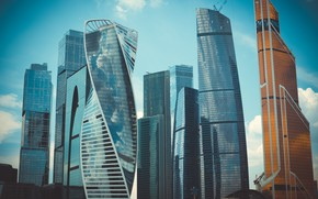 Картинка city, light, summer, sky, sunset, beautiful, view, skyscraper, clouds, evening, morning, Moscow, architecture, building, urban, ...